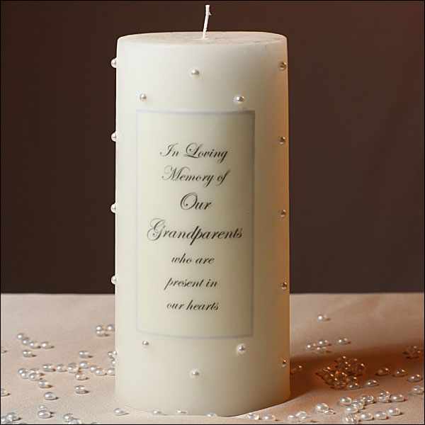 Memorial Candle With Pearls For Grandpas
