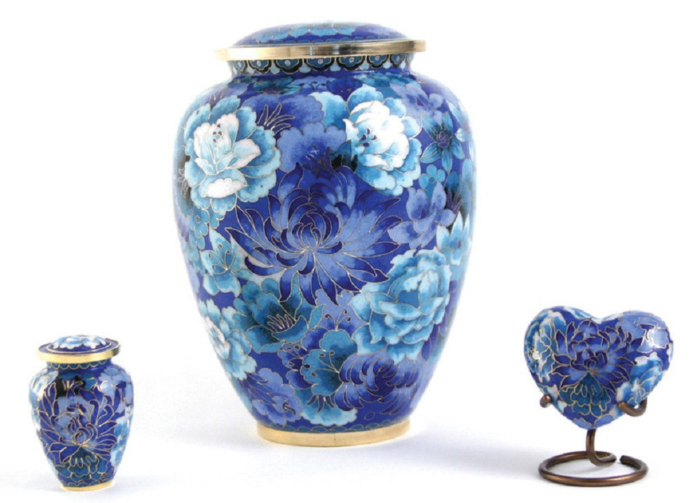 Floral Blue Elite Cloisonne Cremation Urns and keepsakes
