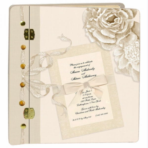 Cream Peonies wedding book