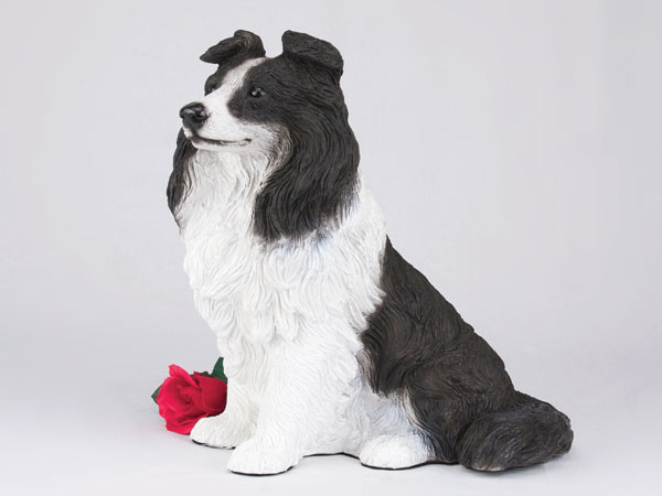 Border collie figurine urn