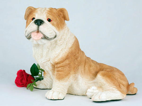 tan and white bulldog urn