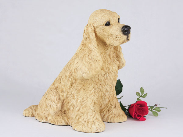 Buff color figurine cocker spaniel urn