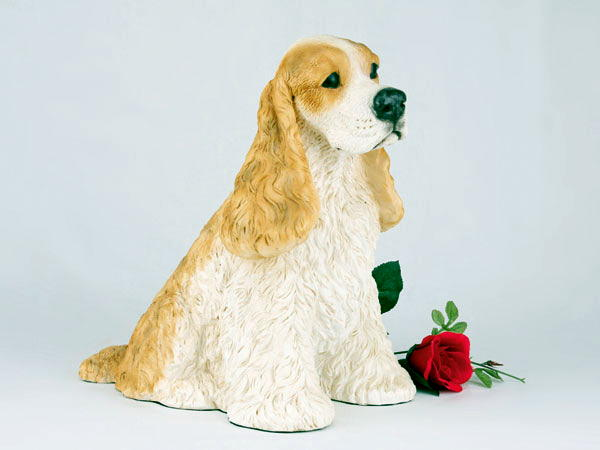 tan and whihite cocker spaniel cremation urn