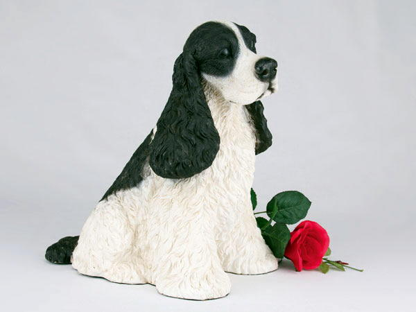 black and white cocker spaniel figurine urn