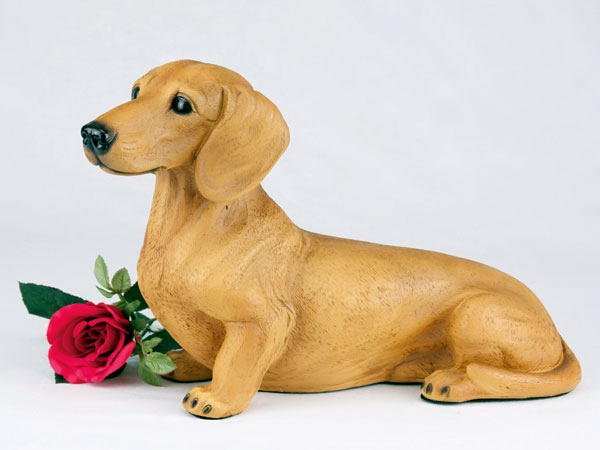 red dachshund figurine urn