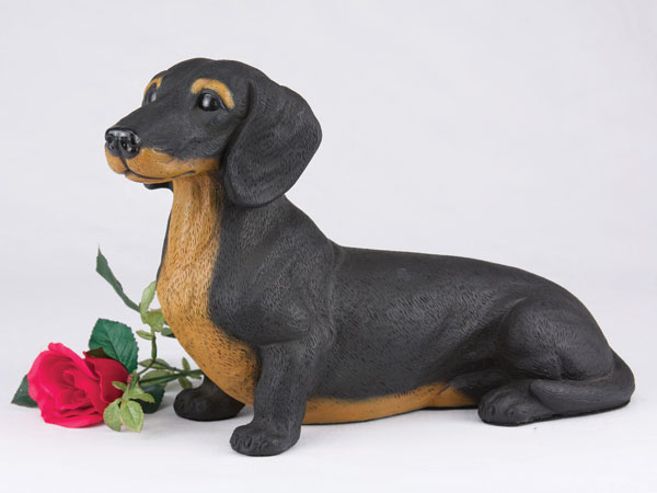 Black and tan dachshund dog cremation urn