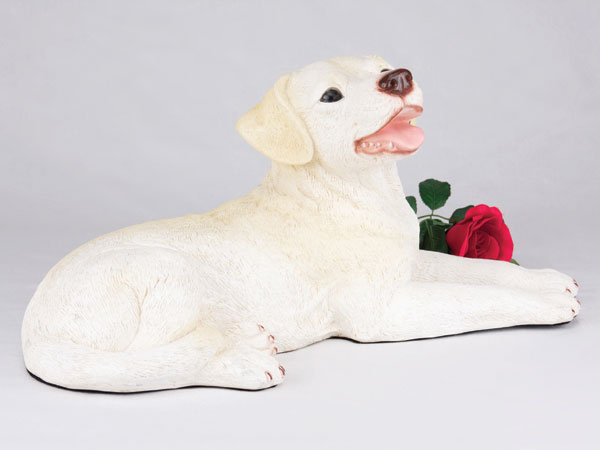 Yellow lab cremation urn