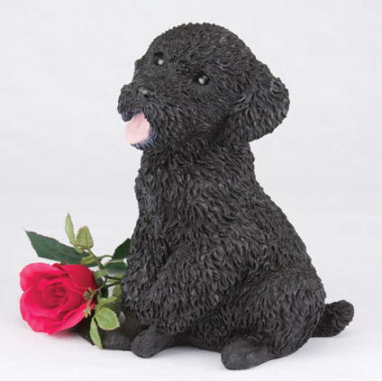 Black miniature poodle cremation figurine urn