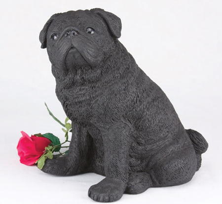 Black Pug Creamation urn
