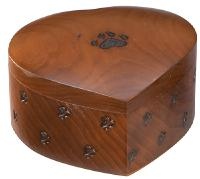 Paw print wood heart  cremation  urn