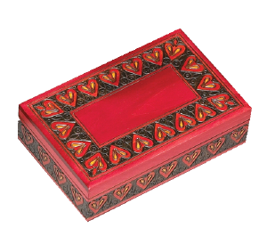 Red heart border urn box