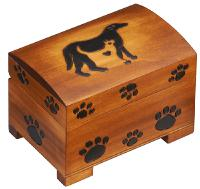 Paw print wood chest  pet urm cremation  urn