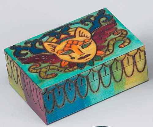 Hand-Made Wooden Box with Cats & Snakes