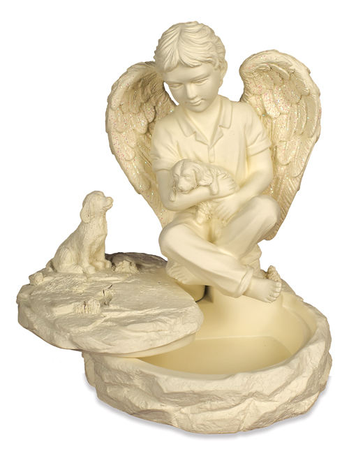 little boy angle with puppy keepsake box