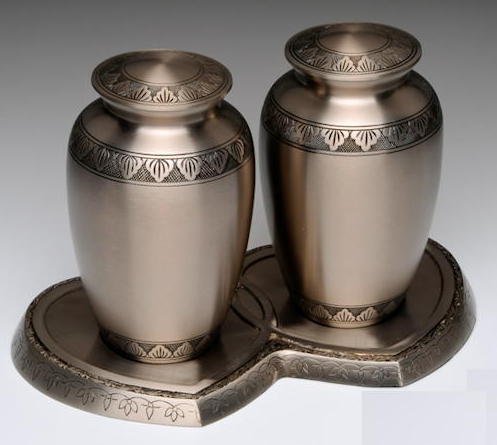 Pewter companion urns