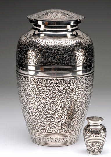 Pollished nickle urn