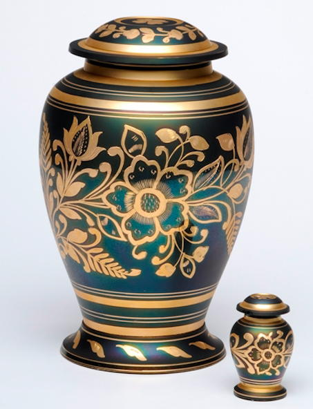 dark green and brass floral design urn with matching  keepsake
