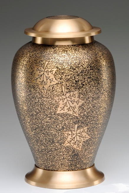 Brass urn with three falling leaves