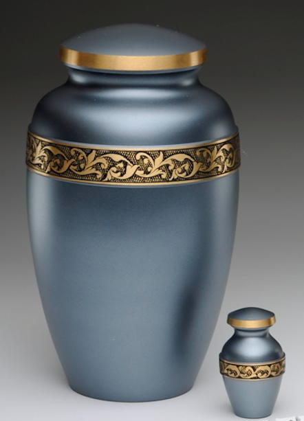 blue and gold cremation urn