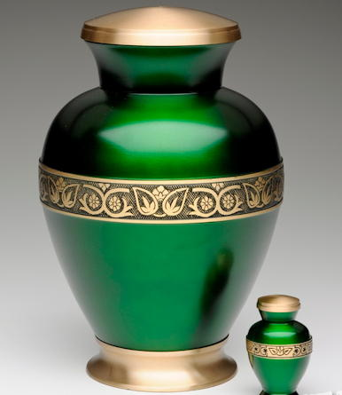 Green brass cremation urn