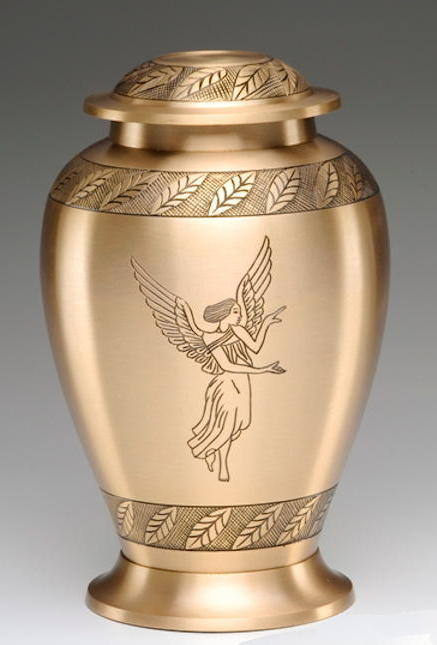Golden brass winged angel design urn