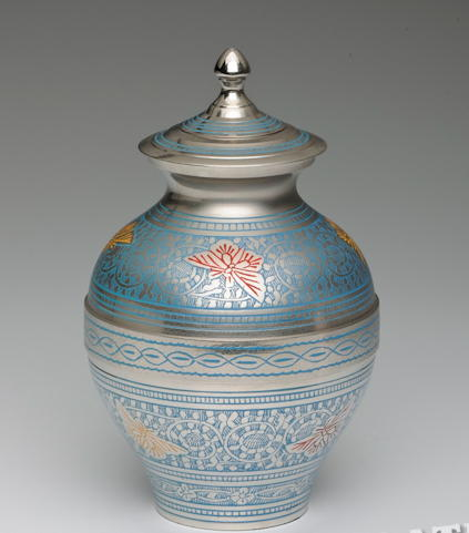 Blue brass Child's cremation urn