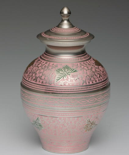 Pink brass Child's cremation urn