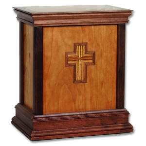 wood urn with cross