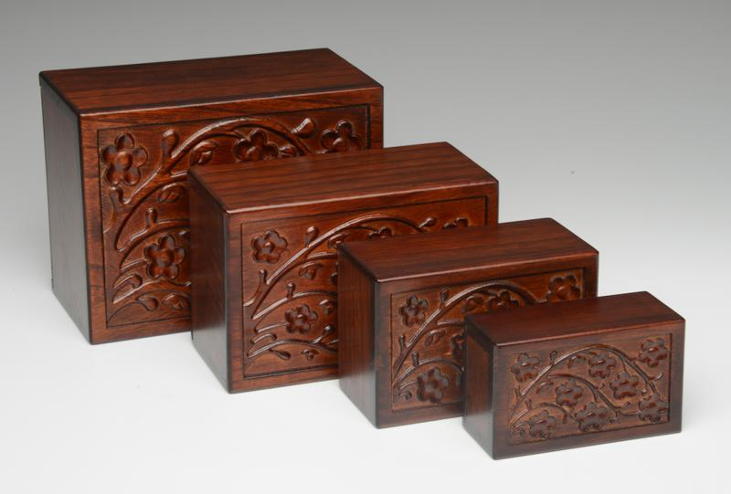 Hand-Made Wooden Box hand carved cherry blossom wood urn