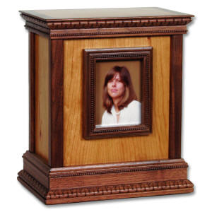 Cherry wood urn with picture frame on front