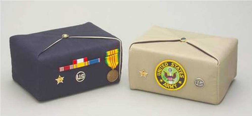 military emblem silk fabric urns