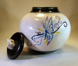 ceramic urn with hand painted butterfly