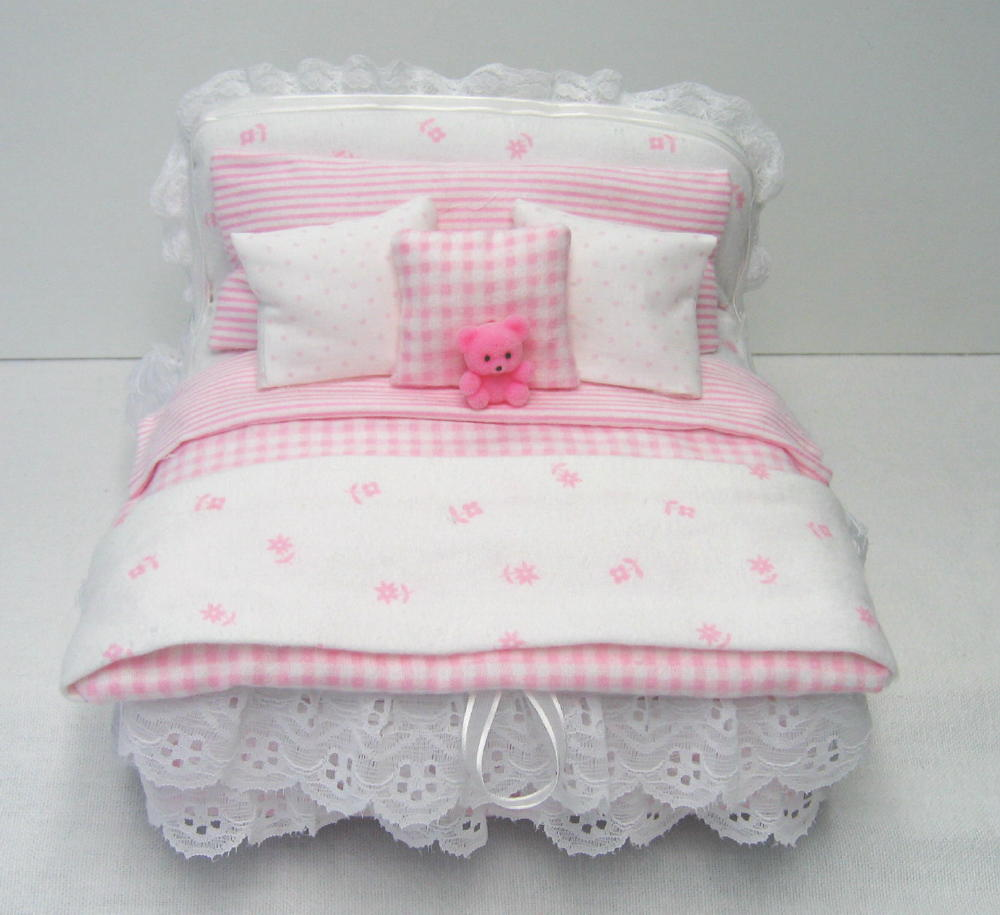 Pink and white Child's cremation Bed box