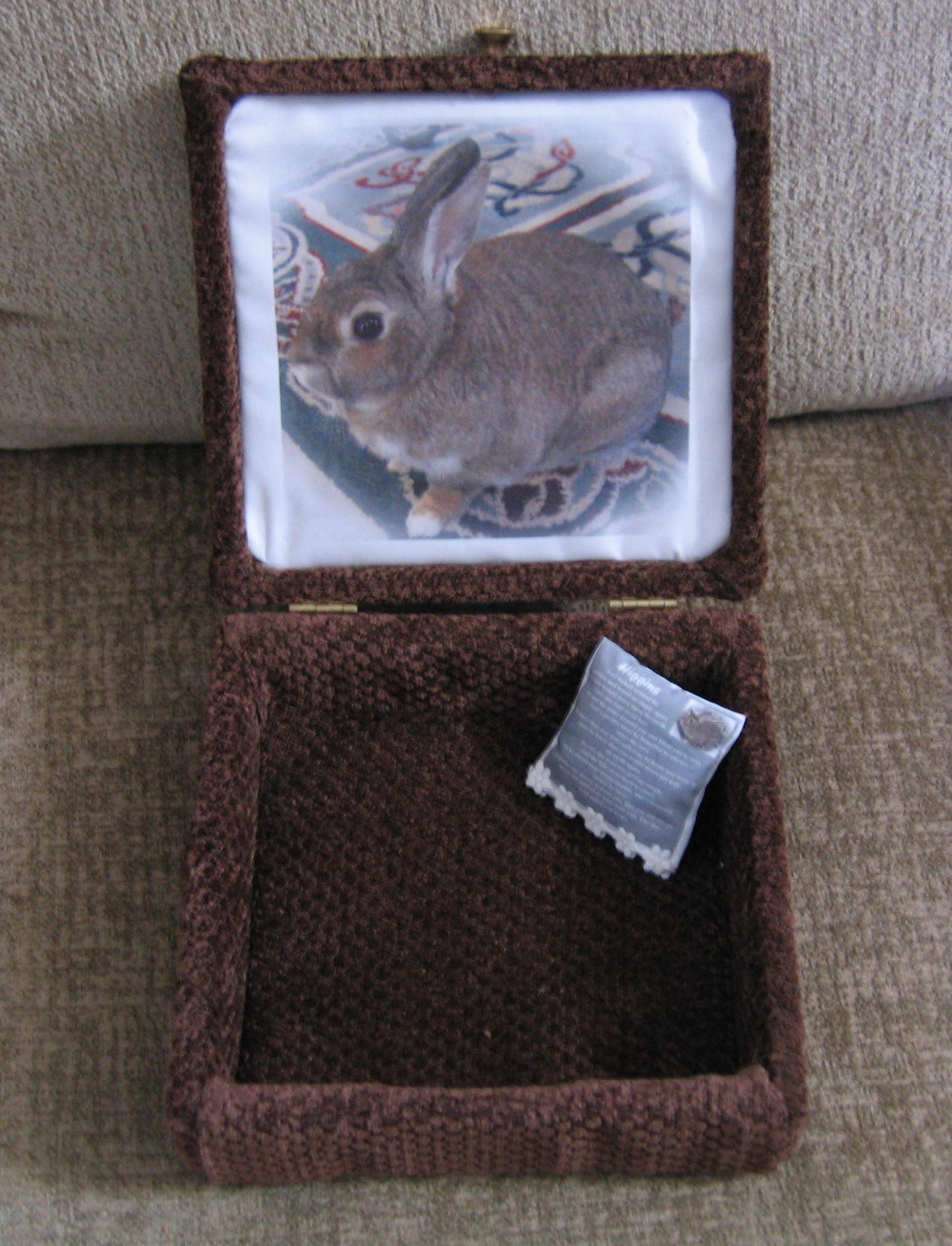 inside of custom pet urn box