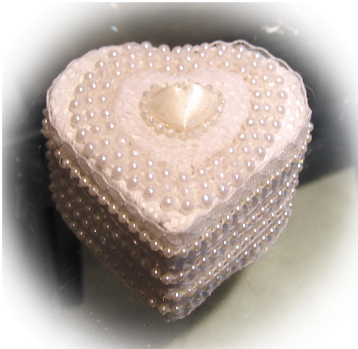 satin heart ring box