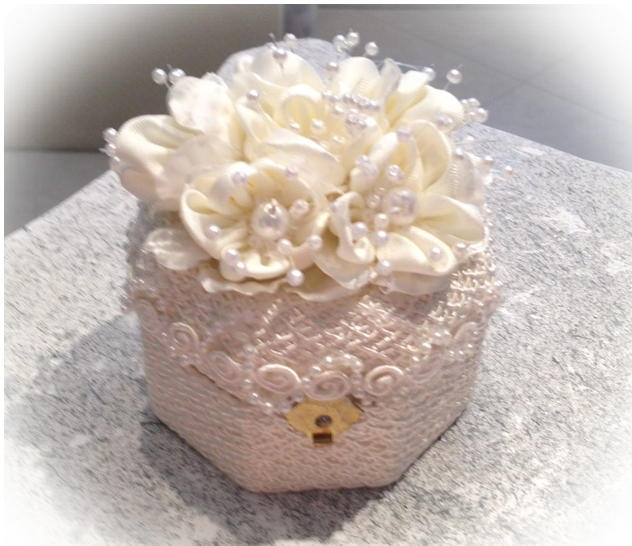satin flower engagement ring box