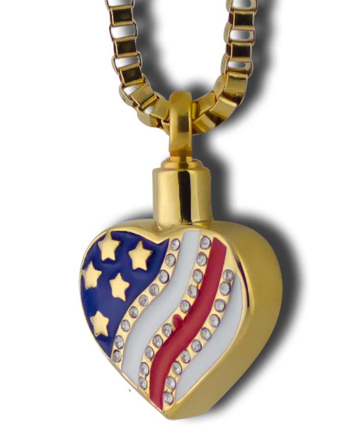 Gold heart cremation pendant with american flag