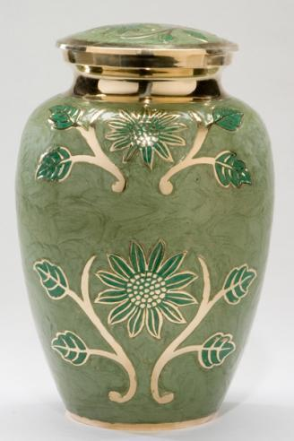 Green flower brass urn