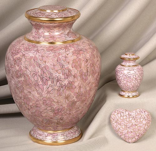 pink and gold  Cloisonne urn set
