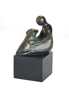bronze woman with dog sculpted art cremation urn