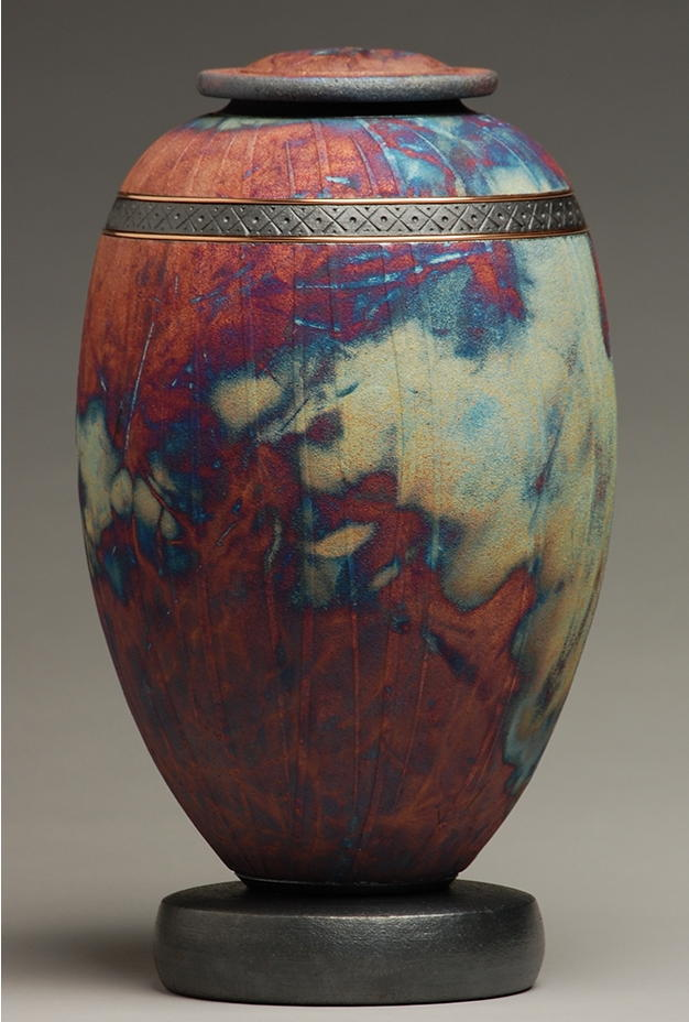 copper and blue raku urn