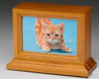 Oak wood pet cremation urn with picture frame