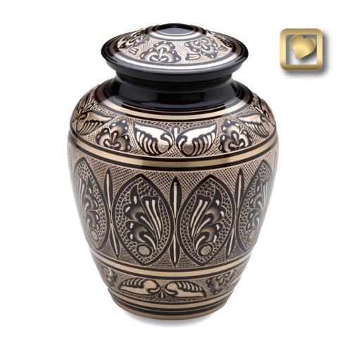 fancy black and brass urn