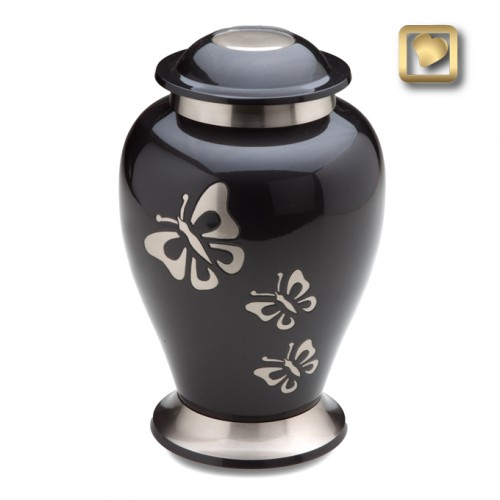 black brass urn with butterflies