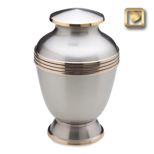 puter and brass elegant cremation urn