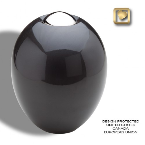 modern black and brass cremation urn
