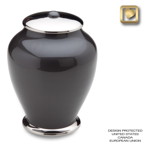 black and silver clasic brass urn