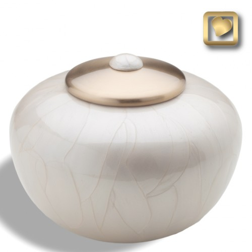 white pearl round shape cremation urn