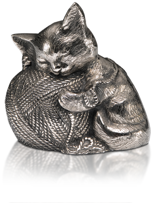 Silver precious Kitty Cat Urn