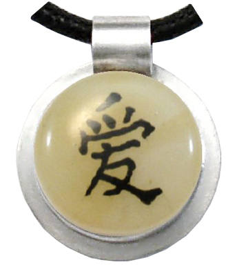 chinese writing on glass cremation pendant